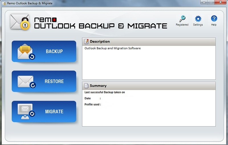 Screenshot of Remo Outlook Backup Software 1.0.0.70